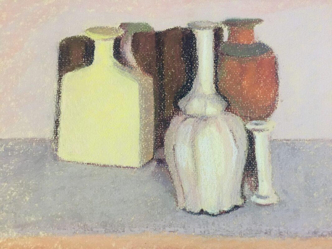 PETRONELLA M VAN LEUSDEN - painting of blottles after Morandi