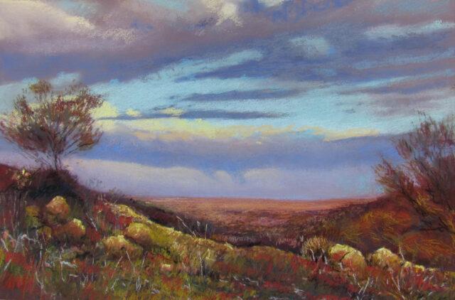 Artwork by Petronella van Leeusden. Painting of landscape with sun